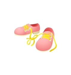 Pink shoes with laces tied together icon vector