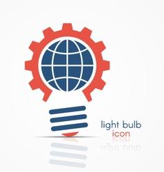 gear light bulb idea icon with globe sign vector image