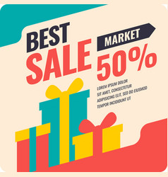 Banner best selling in flat design retro vector