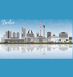 berlin skyline with gray buildings blue sky and vector image