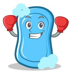 Boxing blue soap character cartoon vector