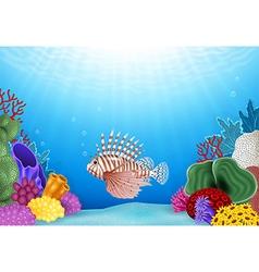 Cartoon scorpion fish with beautiful underwater vector