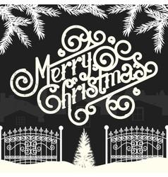 Christmas vintage chalk text label on a blackboard vector image vector image