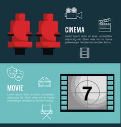 Cinema entertainment flat icons vector
