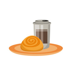 Coffee cup and cinnamon roll vector