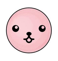 cute pink kawaii emoticon face vector image