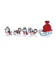 Dogs with numbers 2018 sled team and chrismas bag vector