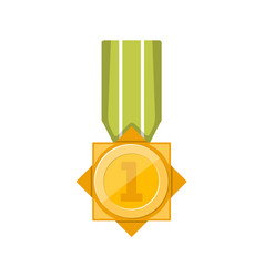 first place golden medal with green ribbon vector image