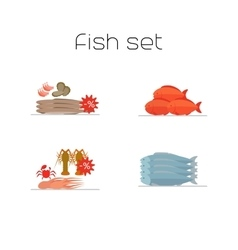 Foods market fish flat icons set vector image vector image