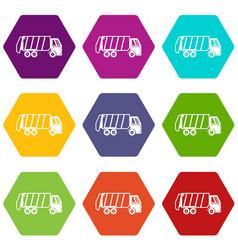 Garbage truck icon set color hexahedron vector