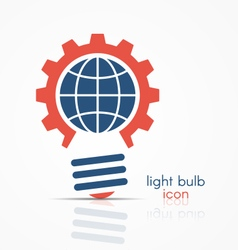 gear light bulb idea icon with globe sign vector image vector image