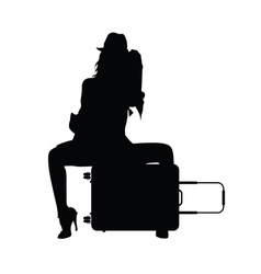 girl with travel bag silhouette in black vector image vector image