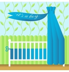 Greeting card with blue baby bed vector
