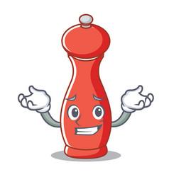 Grinning pepper mill character cartoon vector