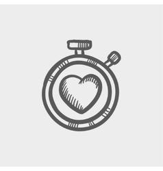 Heart time sketch icon vector