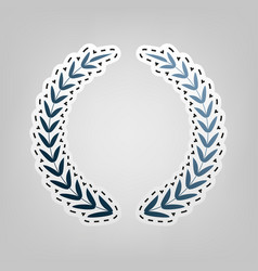 Laurel wreath sign blue icon with outline vector