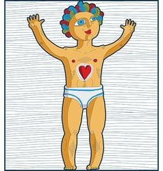Lined of nude man adam hand drawn art imag vector