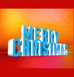 merry christmas isometric wording template vector image