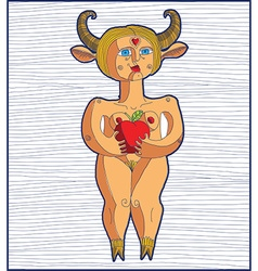 Nude woman with an apple graphic stripy eve vector