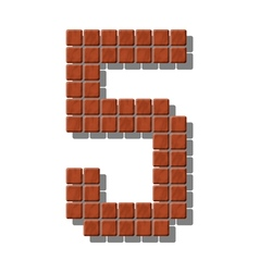 Number 5 made from realistic stone tiles vector image