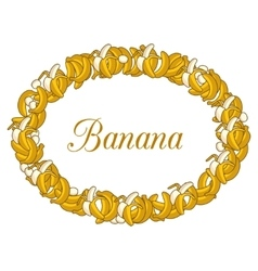 Oval frame of yellow bananas on white background vector