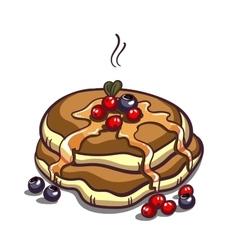 Pancakes berries on white vector