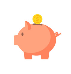 Piggy bank with coin in flat style vector