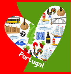 portugal background design in shape of heart vector image vector image