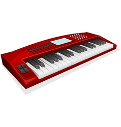 Red synthesizer on white background vector