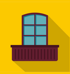 Retro window and flowerbox icon flat style vector