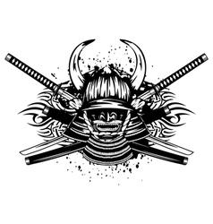 Samurai helmet with horns menpo with yodare kake vector