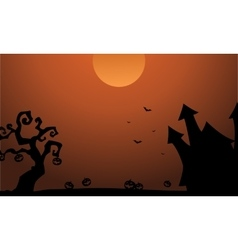 Scenery halloween castle pumpkin bat silhouette vector