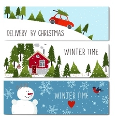 Set of 3 lovely winter cards templates vector image vector image