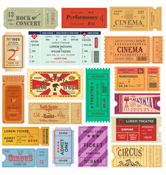 set of old isolated tickets for cinema or theater vector image