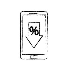 smartphone and arrow discount percent offer sale vector image