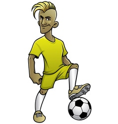 Soccer player pose with the ball vector