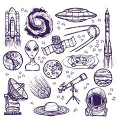 Space sketch set vector