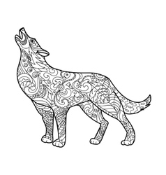 Wolf coloring book for adults vector image