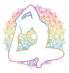 women silhouette one-legged king pigeon yoga pose vector image