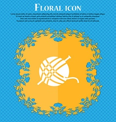 Yarn ball icon sign floral flat design on a blue vector
