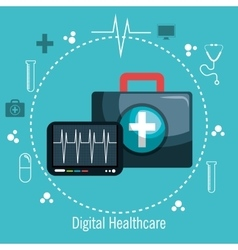 Digital healthcare pulse and first aid vector