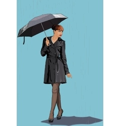 The girl with an umbrella in the rain vector