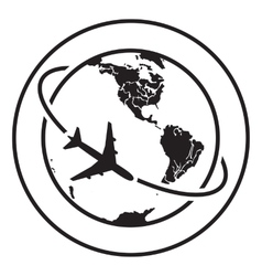 Airplane fly around the planet Earth Logo vector image