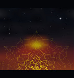background with shiny mandala on blurred space vector image