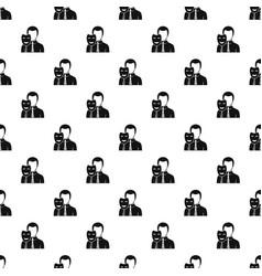 businessman holding smile mask pattern vector image