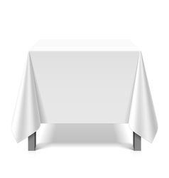 Square table covered with white tablecloth vector