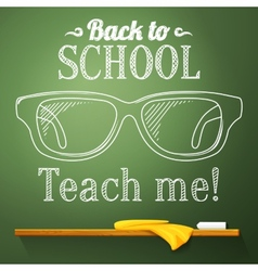 Nerd glasses on the chalkboard with back to school vector