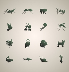 Silhouette of animals set 2 vector