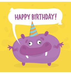 Purple birthday monster vector image
