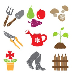 Colored gardening icons - tools and plants vector